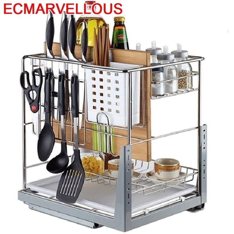 Cestas Corredera Accesorios Organizar Para Armario Pantries Stainless Steel Cozinha Organizer Kitchen Cabinet Storage Basket