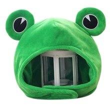 Nowość śmieszne duże żaby oczy kreskówka pluszowa czapka zabawka zielona pełna nakrycia głowy czapka przebranie na karnawał strona element ubioru Photo Prop