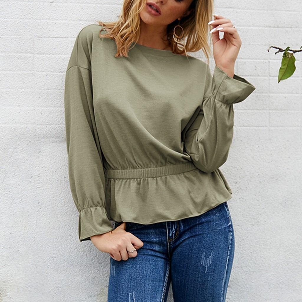 women t shirt long sleeves autumn and winter Women Fashion Loose Solid Color Loose Hem Lace Long Sleeve Top in T Shirts from Women 39 s Clothing