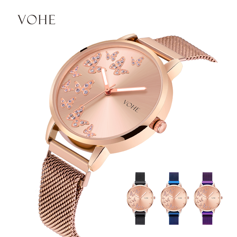 VOHE 2019 Butterfly Watch Women Luxury Fashion Casual Diamond Quartz Watches Sport Clock Ladies Elegant Wrist Watch Reloj Mujer