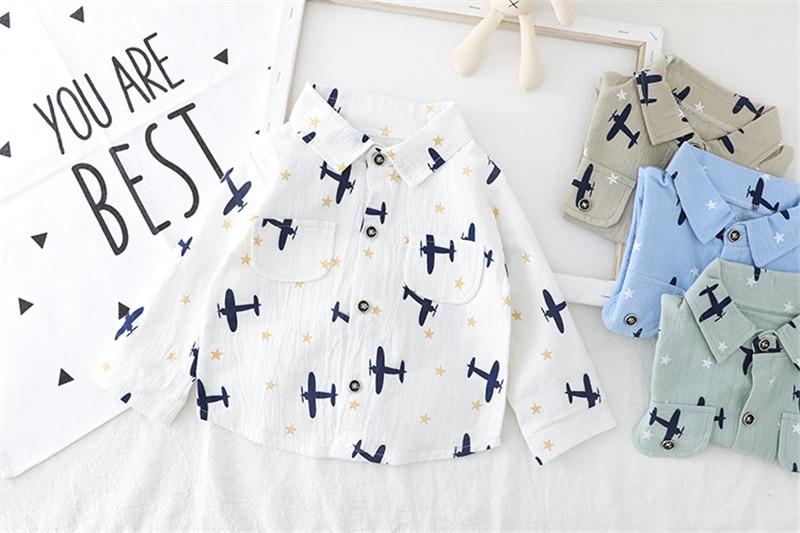 HYLKIDHUOSE 2020 Spring Baby Boys Girls Clothing Cartoon Airplane Shirt Bib Jeans Toddler Infant Clothes Children Clothing