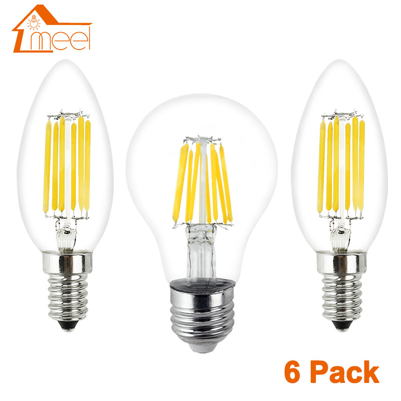 6Pcs LED Lamp 220V E27 E14 LED Filament Light Lamp 2W 4W 6W 8W Retro Edison Bulb Candle Glass Led Specialty Decorative Light