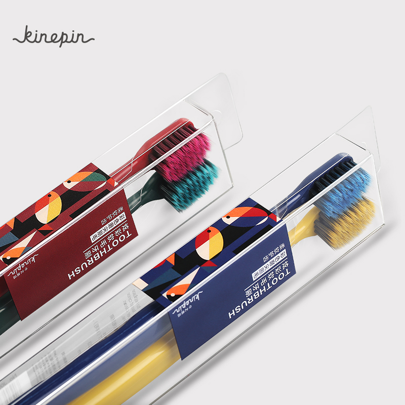 KINEPIN 2pc Deep Cleaning Toothbrush Dental Care Toothbrush Oral Hygiene Medium Slim Bristles Tooth Brush For Adult Lovers image