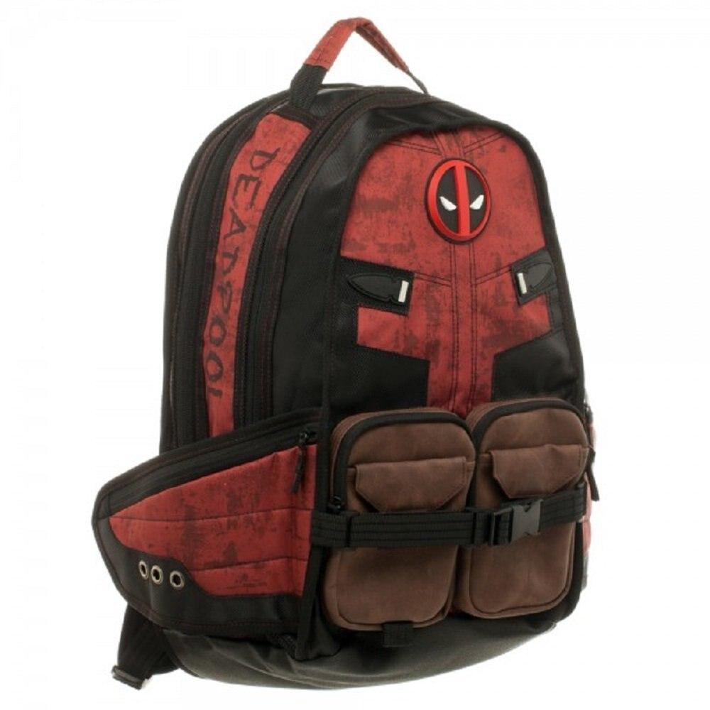Mochila escolar Deadpool de Marvel Comics superhéroe película guerra Civil Capitán América mochila escolar de viaje para ordenador portátil - 4