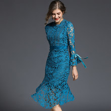 Spring Sexy Lace Hollow Out Women Dress O Neck Long Sleeve Patchwork Velvet Slim Knee-length Elegant Mermaid Dress(China)