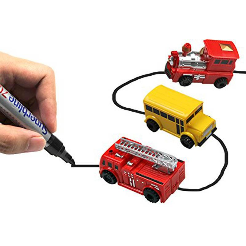 Magic Pen Inductive Car Truck  Follow Any Drawn Black Line Track Mini Toy Engineering Vehicles Educational Toy