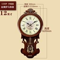 European Large Wall Clock Vintage Pendulum Clock Wall Decor Bell Living Room Radio Clocks Wall Clock Modern Design Wall Watch