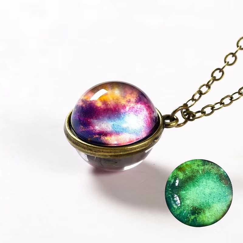 Светящаяся ночь звезды Планеты стеклянный шар блестящее ожерелье с кулоном двухсторонняя Люминесцентная Галактическая Туманность космическая цепь свитера