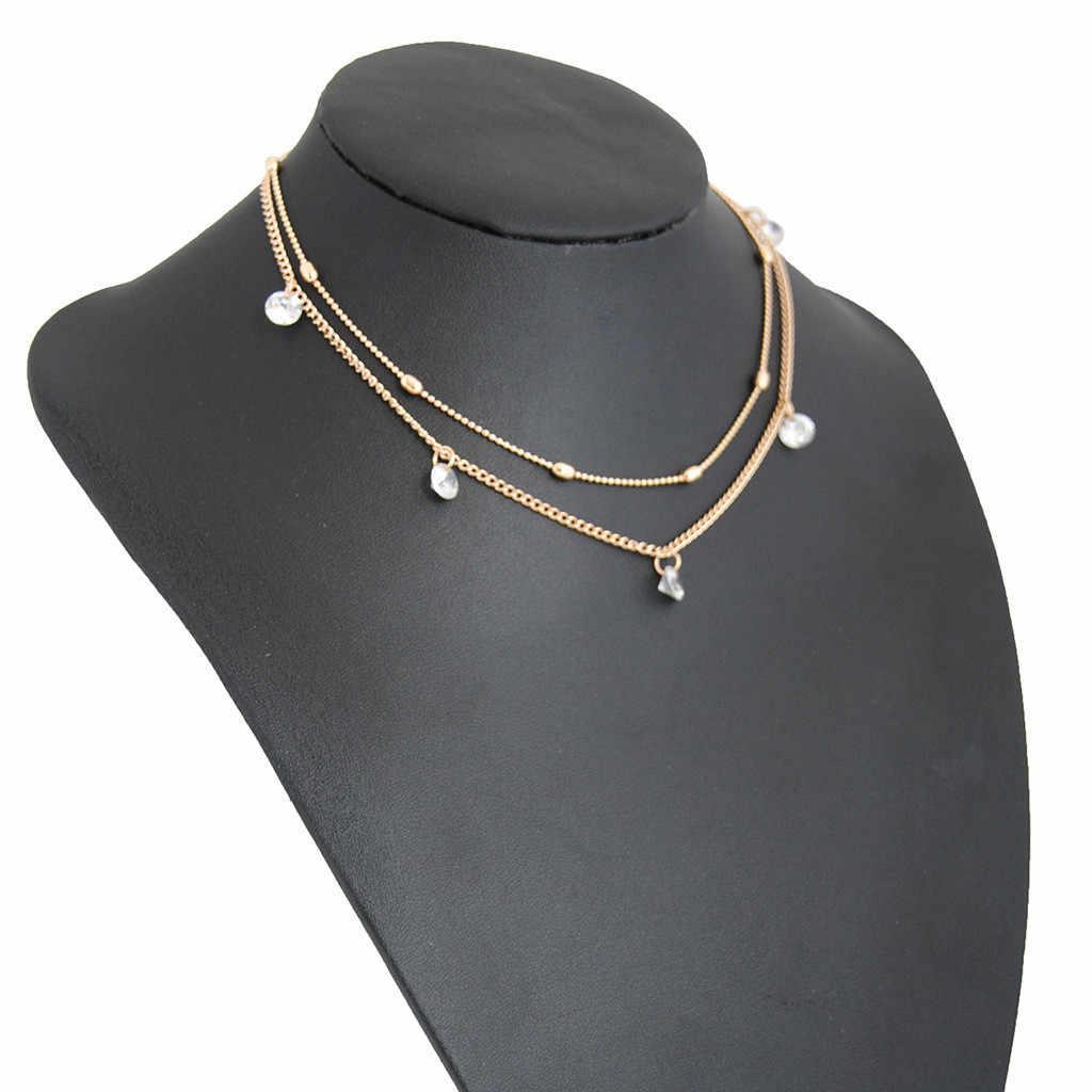 Böhmen Einfache Mode Nachahmung Europa Doppel schicht Schlüsselbein Kette Halskette Zubehör Weibliche Schmuck Geschenke Neue