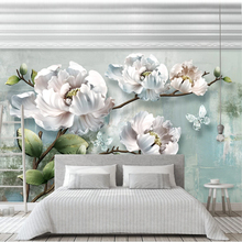 Private Custom 3D Space Photo Mural Wallpaper for Living Room Bedroom Embossed Flowers Murals Wall Paper Painting