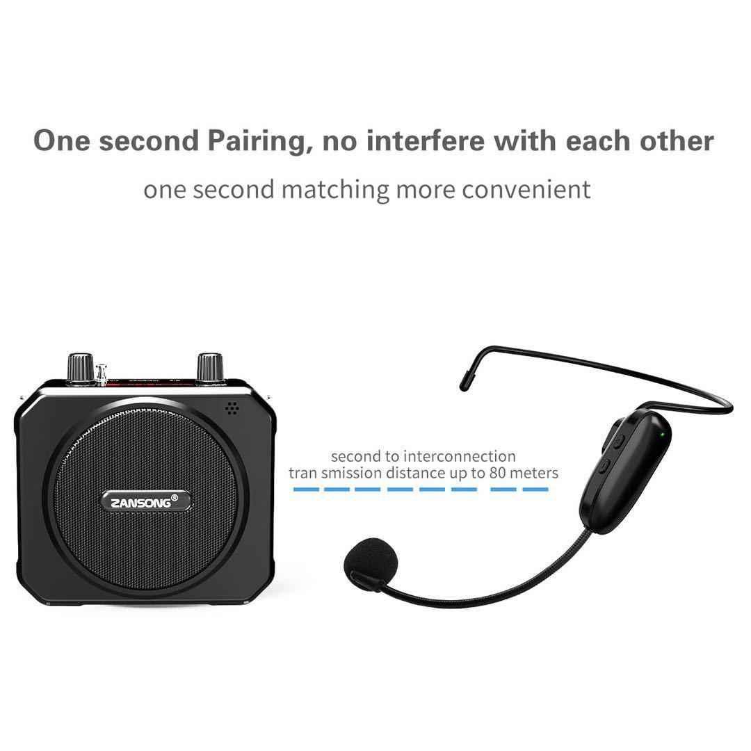 ポータブル Bluetooth 音声アンプ UHF ワイヤレスマイクとメガホンベルトミニメガホンサポート USB AUX TF FM ラジオプレーヤー