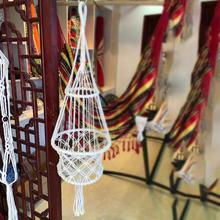 Moda estilo hecho a mano tejido de algodón cuerda flor maceta cesta colgante elegante Vintage flor maceta silla interior decoración al aire libre