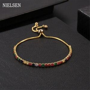 Urocza bransoletka tenisowa i bransoletki regulowana modna kolorowa bransoletka z cyrkoniami 2 mm dla kobiet akcesoria walentynkowe