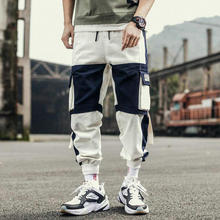 Ribbons Harem Joggers Men Cargo Pants Streetwear 2020 Hip Hop Casual Pockets Track Pants Male Harajuku Fashion Trousers cheap VOLGINS Pencil Pants CN(Origin) Flat Polyester Cotton Regular Full Length Midweight Broadcloth Elastic Waist Chinese Size