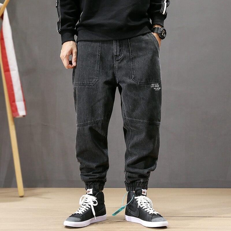 Fashion Streetwear Men Jeans Vintage Black Loose Fit Cargo Pants Harem Jeans Printed Designer Spliced Hip Hop Jogger Jeans Men