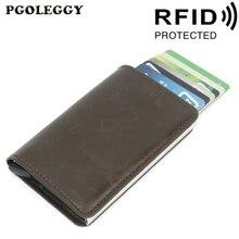 Credit Card Holder Antitheft RFID Wallet Vintage Blocking Leather Unisex Security Purse Men Women Magic