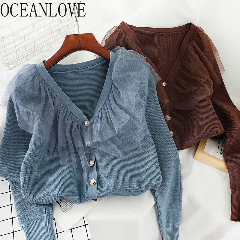 OCEANLOVE Women Cardigans Solid Mesh Patchwork Student Casual Sweaters 2020 V Neck Single Breasted Chaqueta Mujer Korean 13453