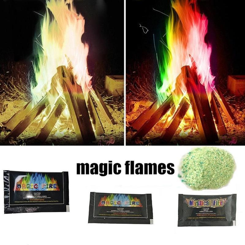 Mystic Fire Magic Tricks Colorful Flames Toy Game Flame Powder Bonfire Outdoor Professional Pyrotechnics Magicians