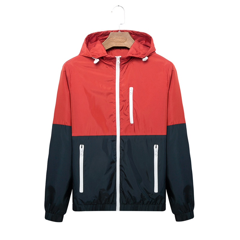 Manoswe Spring Summer Men's Lightweight Windbreaker Jacket Splice Hooded Jacket Outdoor Sports Jogging Slim Fit Zipper Coats