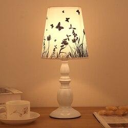 Lampy lampa europejska klosz lampy żelaza baza nowoczesne sypialnia lampki nocne LED lampa biurko stół światło w pomieszczeniach