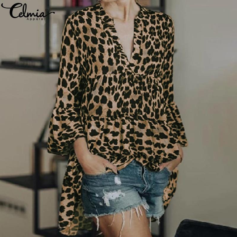 Celmia Women Long Sleeve Sexy Leopard Print Blouse V-neck Lady Office Shirt Pleated Casual Loose Top Plus Size Blusas Feminina 7