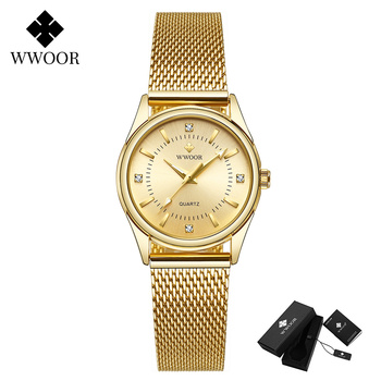 2020 WWOOR Fashion Brand Ladies Watches Luxury Diamond Rose Gold Women Bracelet Watch Elegant Dress Watch For Girls montre femme - Gold