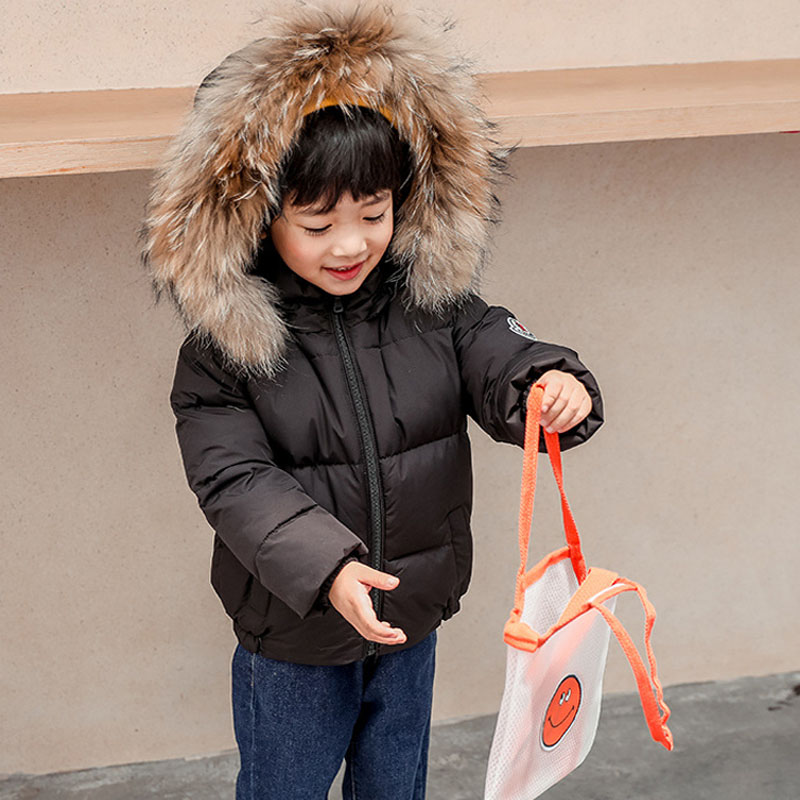 Winter Childrens coat Fur Collar Hooded kids clothes Baby Boys Girls Thickened Down Jacket 2021 Y09.12 6