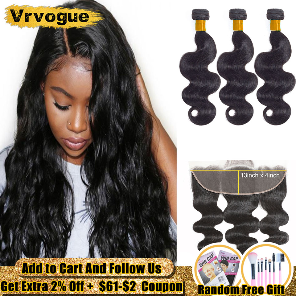 3 Bundles With Closure Body Wave Tissage Cheveux Humain 13x4 Ear To Ear Lace Frontal With Smooth Human Hair Bundles Vrvogue Hair