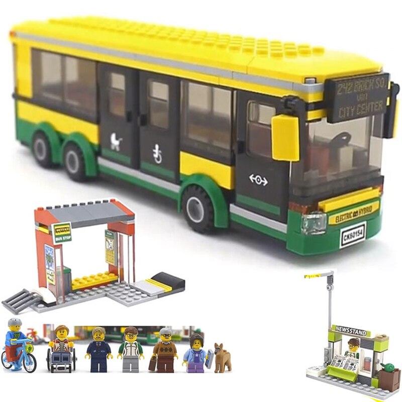 Hot New Compatible Legoinglys City Town Bus Station Classic Marvel Building Blocks 377pcs Newsstand Model Bricks Toys