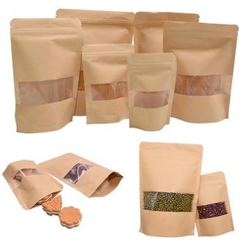 10 Uds Ventana de papel Kraft bolsas de cremallera reutilizable de dulces regalo secos bolsa de aperitivos para casa almacenar comida suministros de embalaje