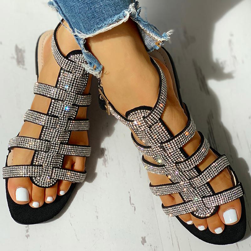 Summer Women Flat Ankle Strap Sandals Womens Buckle Glitter Gladiator Beach Shoes Women Crystal Bling Ladies Fashion Plus Size