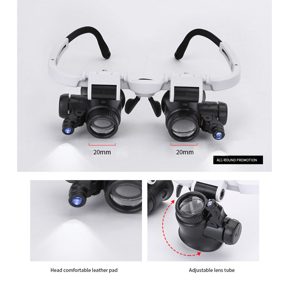 8X 23X ABS Double Eye Glasses Head-mounted Retractable Tool Led Durable Loupe Lens Measurement Watch Repair Portable Magnifier