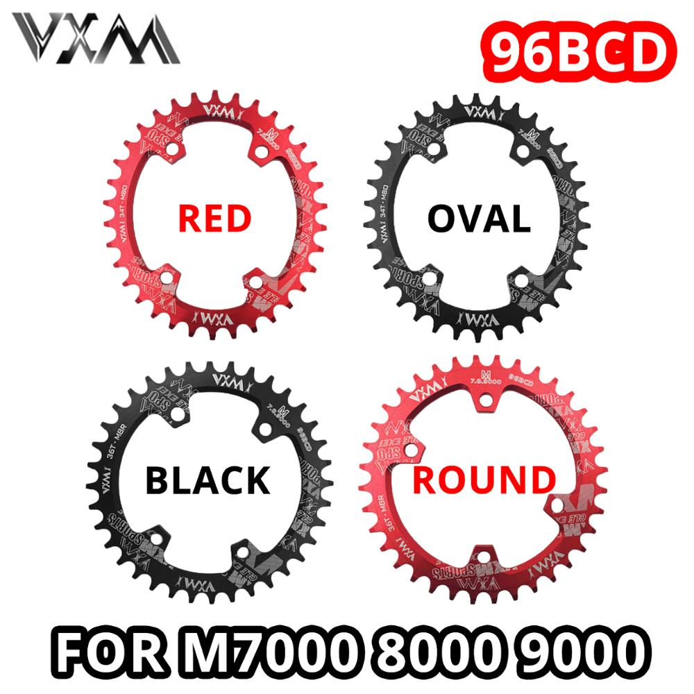 VXM Round Oval 96BCD <font><b>Chainring</b></font> Black Red MTB Mountain BCD 96 bike 30T 32T 34T 36T 38T crankset Tooth plate Parts for <font><b>M7000</b></font> M8000 M9000 image