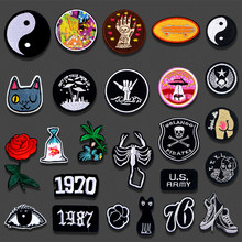 Iron On Embroidered Patches Gossip Rose Goldfish Cat Hat For Clothing DIY Stripes Applique Badge Stickers Clothes Accessories(China)