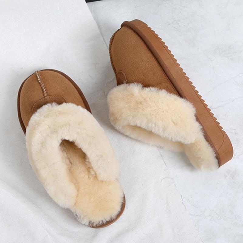 New Girls Womens Ladies Natural Sheep Wool Sheepskin Slipper Boots Non Slip Size
