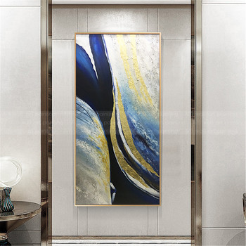 Gold leaf abstract canvas painting Wall art wall pictures for living room Home decoration painting acrylic blue art texture