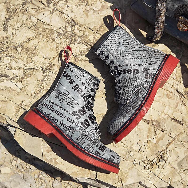 Baskı Mektubu Kadınlar Hakiki deri ayakkabı Kışlık Botlar Kadın Rahat Bahar Askeri Çöl Botas Mujer Kadın yarım çizmeler