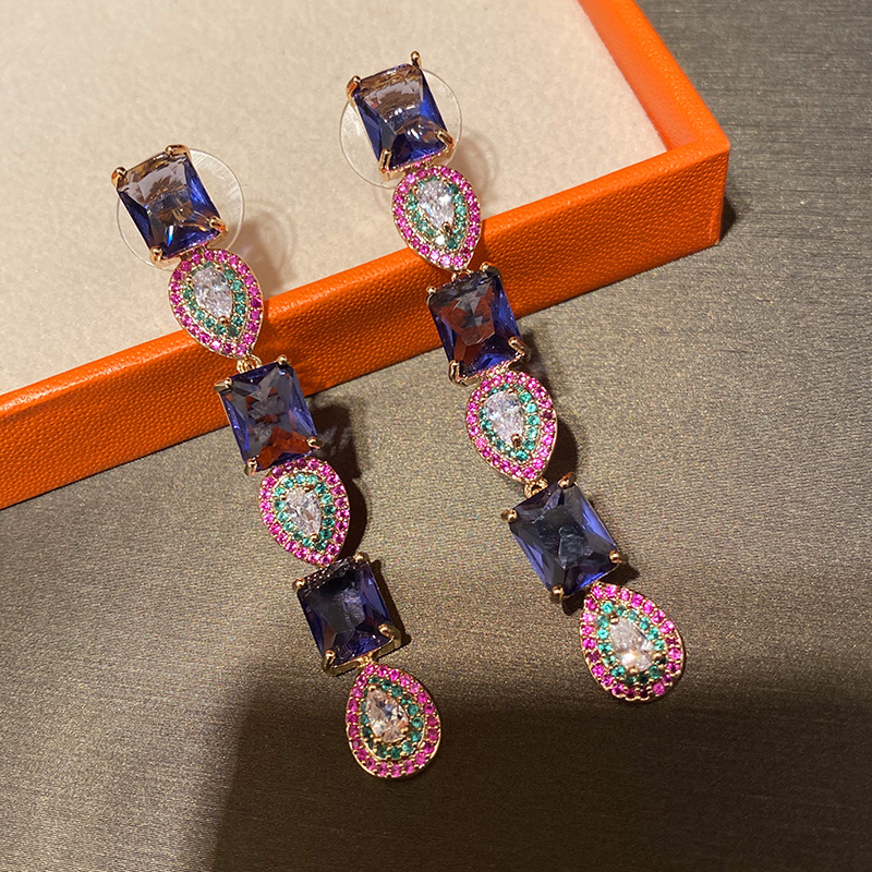 Bilincolor Square And Water Drop Purple Fashion Drop Earring For Women