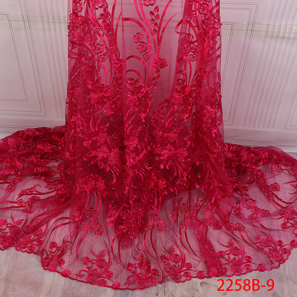 Image 2 - African Nigerian Lace Fabric 2019 High Quality Embroidered Tulle  Lace Fabric With Beads Stones Guipure Lace Trim Dress QF2258B 1Lace