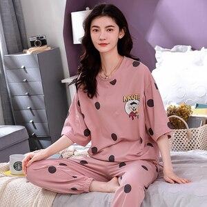 Image 2 - 4XL młoda dziewczyna bielizna nocna zestawy luźne ubrania wiosna cienka krótki rękaw kobiety piżamy Dot drukowanie piżamy urocza odzież domowa