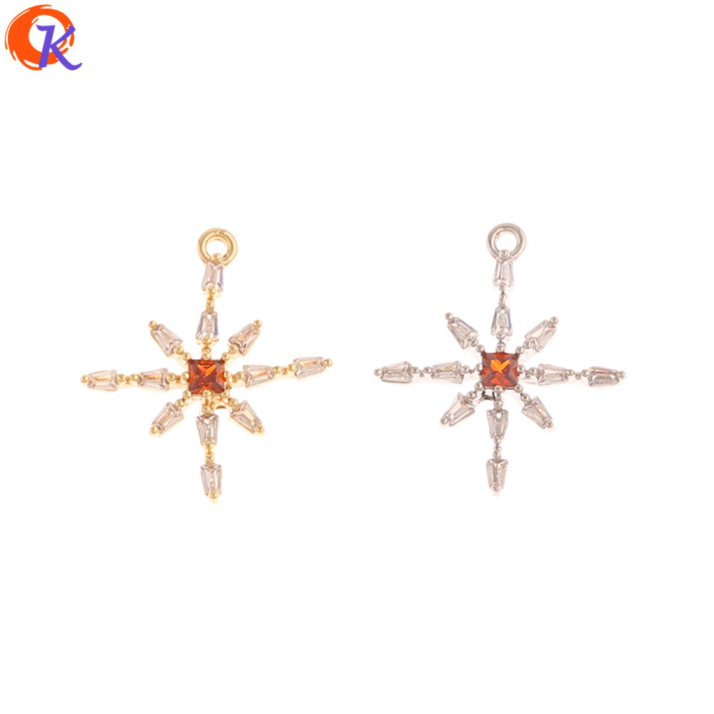 Cordial Design 20Pcs 17*19MM Jewelry Accessories/CZ Pendant/Genuine Gold Plating/DIY Earrings Charms/Hand Made/Earring Findings