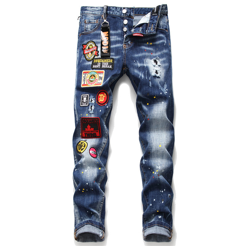 European Italy Dsquared2 Blue Black Personality Patch Hole Jeans Slim Fit Patchwork Letter Men's  Washed Denim