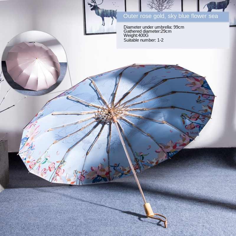 16K parapluie pluie femmes coupe-vent manche en bois inversé parapluies trois pliant Anti-UV Parasol fille parapluie
