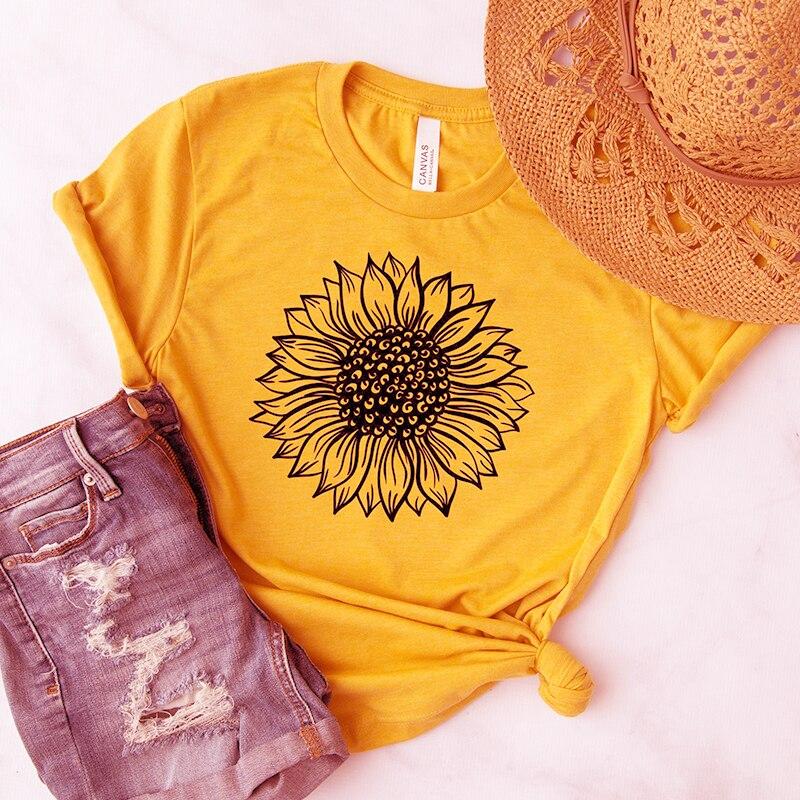 Sunflower T Shirt Women Aesthetic Grunge Short Sleeve T-shirt Cotton Graphic Tees Summer Tops Fashion Clothing Dropshipping