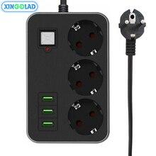 3 AC 3 USB כוח רצועה לשקע האיחוד האירופי תקע שקע 1.8M הארכת כבל גל עומס מגן רשת מסנן LED אור בטוח דלת 10A