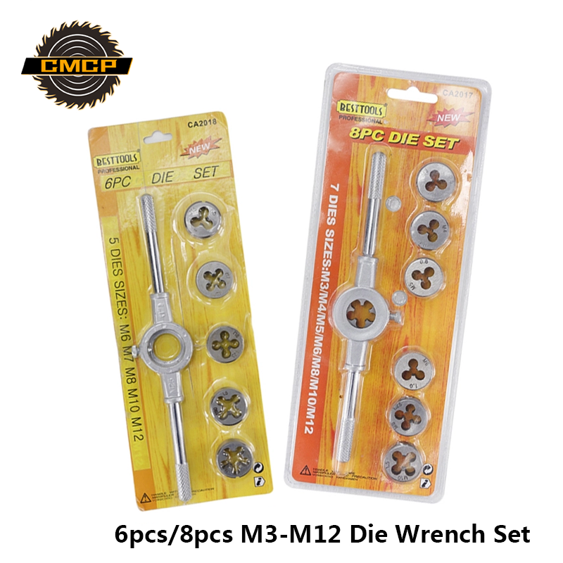 6pcs/8pcs M3 M4 M5 M6 M7 M8 M10 M12 Die Wrench Set Metric Tap And Die Set Alloy Steel Thread Die Set Hand Tools Screw Thread Tap