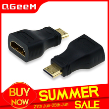 QGeeM MINI HDMI Cable Compatible TYPE C MALE TO HDMI A FEMALE ADAPTER converter 1080 P 2K 4K FOR MINI PC HDTV HD CAMERA 5504