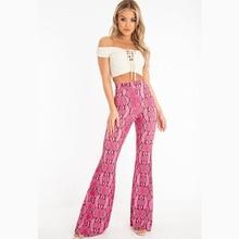 Fashion Snake Printing Flare Pants Elastic Waist Summer High Casual Womens 2019 New Flared Women