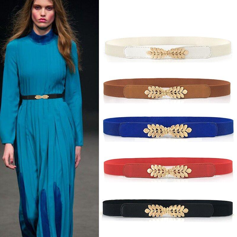 Elastic Women Belts Strap Thin Skinny Ladies Dress Waist Belt Leather Gold Buckle Female Red Belts ceinture femme pasek damski 3