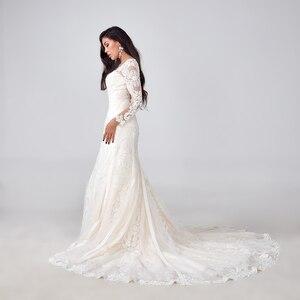 Image 2 - 2019 יוקרה בת ים חתונת שמלת מכירה לוהטת מלא ואגלי חתונת שמלת תפור לפי מידה מפעל סיטונאי כלה שמלה חדש כלה שמלה